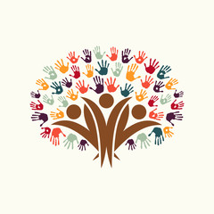 Hand print people tree symbol for community help