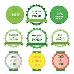Eco green badges vector illustration set