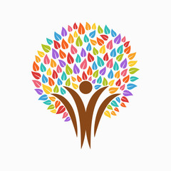 Color tree people symbol for community team help