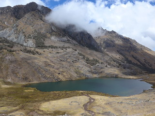 Small alpine lake and open grassland in the high Andes of Peru