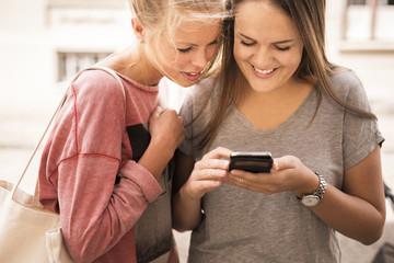 Smiling women using mobile phone