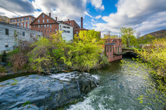 Cascades and old buildings along Whetstone Brook, in Brattleboro, Vermont.