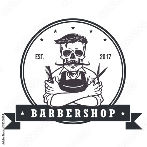 "skull vintage barbershop logo template"" stock image and royalty"