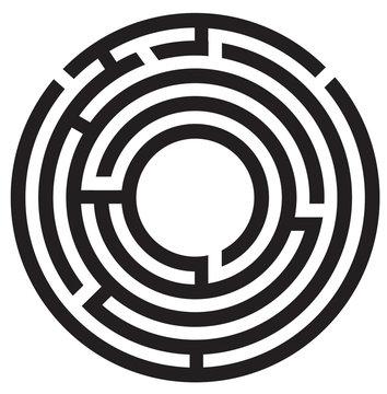 circle maze symbol on white background. round maze icon.