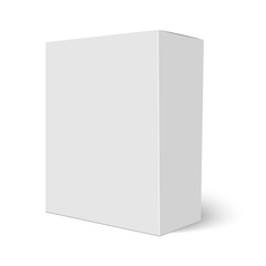 Blank vertical paper box template standing on white background. Vector illustration.