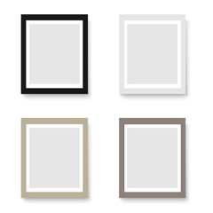 Set of realistic light and dark wood blank picture frames. Vector illustration