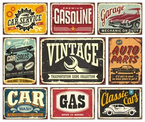 Foto auf Acrylglas Retro Vintage transportation signs collection for car service