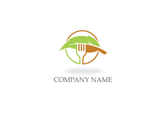food vegan green leaf logo