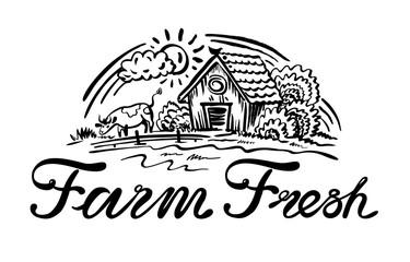 Vector illustration with farm fresh logo.