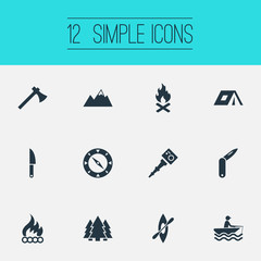 Vector Illustration Set Of Simple Camp Icons. Elements Ice Rock, Lumberjack, Bonfire And Other Synonyms Kayak, Alps And Scouting.