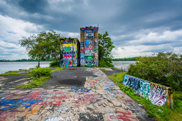 Street art at Graffiti Pier, in Philadelphia, Pennsylvania.