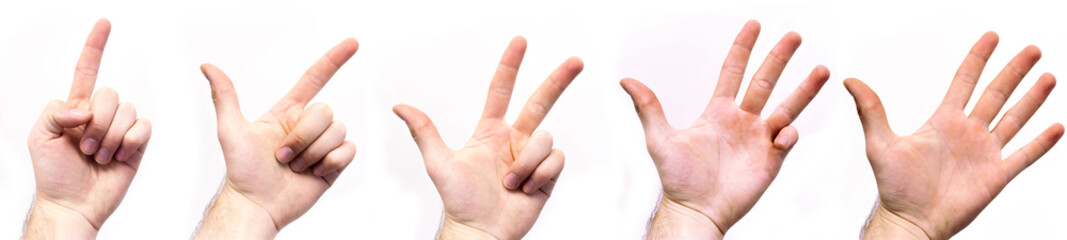Hände zählen von Eins bis Fünf in einer Reihe