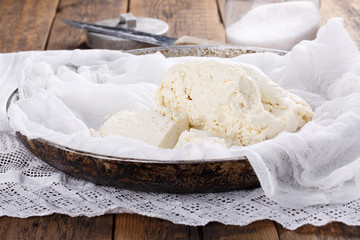 Homemade white brined feta cheese.