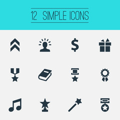 Vector Illustration Set Of Simple Achievement Icons. Elements Melody, Literature, Medal And Other Synonyms Money, Library And Gift.