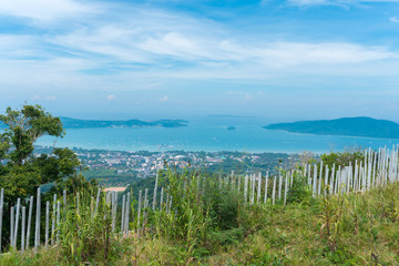 Landscape of city beaches with blue sky background at Phuket, Thailand view from Big Buddha temple viewpoint.
