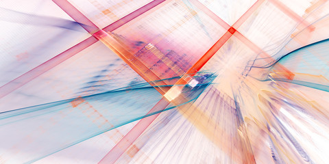 Abstract background element. Three-dimensional composition of curves and grids. Information technology concept. Wide format.