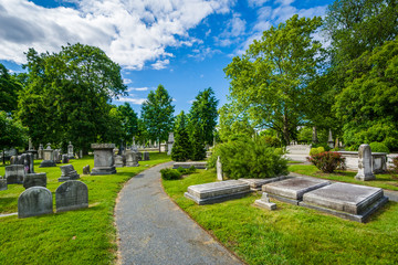 Walkway and graves at Laurel Hill Cemetery, in Philadelphia, Pennsylvania. Wall mural