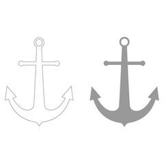Marine anchor  the grey color icon .
