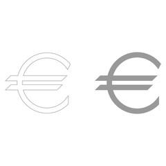 Euro symbol  the grey color icon .