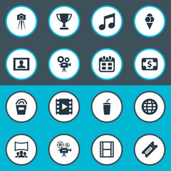 Vector Illustration Set Of Simple Film Icons. Elements Negative, Video Camera, Trophy And Other Synonyms Coupon, Currency And Video.