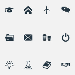 Vector Illustration Set Of Simple Business Icons. Elements Archive, Hard Money, Switch Button And Other Synonyms Mill, Idea And Mind.