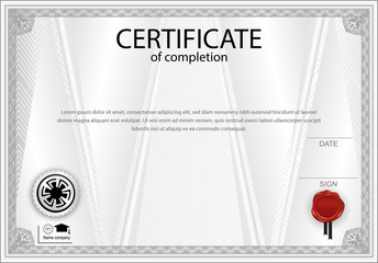 White official certificate with  triangle design elements