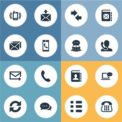 Vector Illustration Set Of Simple Communication Icons. Elements Telephone Switchboard, Smartphone Calling, Quick Post Delivery And Other Synonyms Opinion, Man And Incoming.