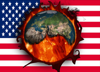 Climate change and American flag. Influence of USA on global climate. Elements of this image furnished by NASA.