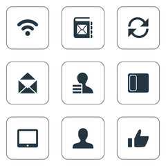 Vector Illustration Set Of Simple Social Icons. Elements Cv, Update, Letter And Other Synonyms Telephone, User And Member.