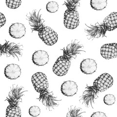 The seamless grey monochrome pattern of fresh fruit pineapple. Hand drawn watercolor painting on white background.