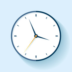 Clock icon in flat style, timer on blue background. Vector design element for you project