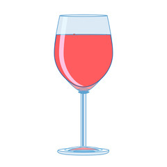 Shaded wine glass line art.