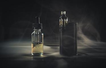 black vaporizer in the smoke