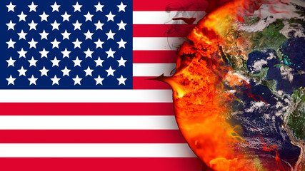 Climate change and American flag. Influence of USA on global climate. Elements of the image furnished by NASA.