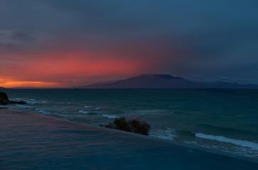 Amazing sunset at Kefallonia view from Zakynthos island