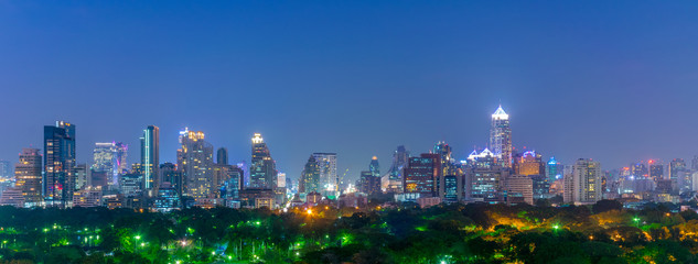 Bangkok city skyline over Lumpini park.