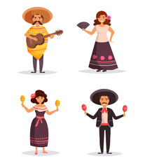 Mexican people. Isolated art