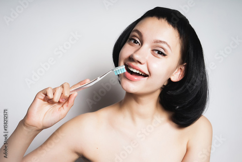 Woman With Tooth Brush Healthy White Smile Teenager With Brush