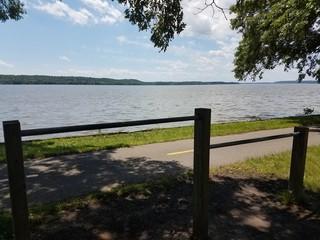 metal bars and bike path along Potomac river