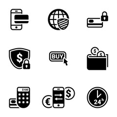 Set of simple icons on a theme Internet money, web, exchange, shopping, vector, set. White background