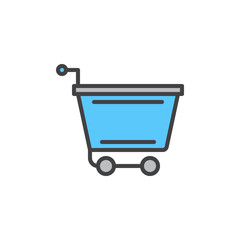 Shopping cart filled outline icon, vector sign, colorful illustration