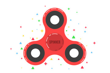 Spinner. A modern anti-stress toy in a flat style. A toy for hands and fingers. Red color. Multicolored pattern of symbols in the background. Bearing system