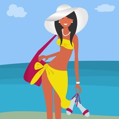 A girl in a yellow beach suit and a white hat on a sea background. In the hands of a young woman holds sandals and a large pink bag. Vector illustration.