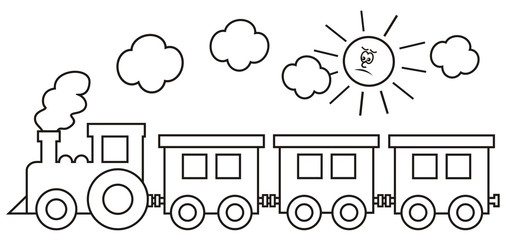 Steam locomotive with wagons. In background the smoke and the sun. Coloring book for kids.