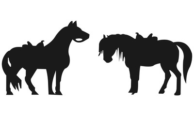 Silhouette of a horse without jockey
