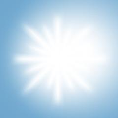 White sun rays on a light sky blue background