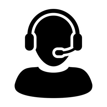 Customer Care Service and Support Icon - Flat Vector Person Avatar With Headphone for Helpline in Glyph Pictogram Symbol illustration