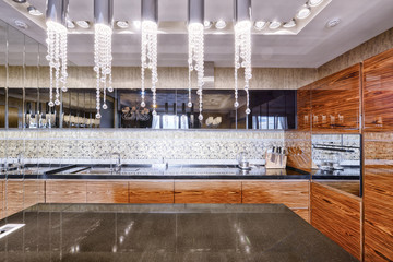 Russia,Moscow region -Kitchen interior in new luxury house.