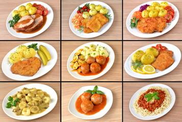 Fototapeta zestaw różnych obiadów obraz
