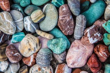 Sea pebble / sea stones background/ beach rocks